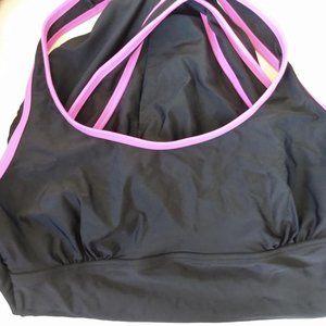 One piece Swim Suit Blk Hot-Pink